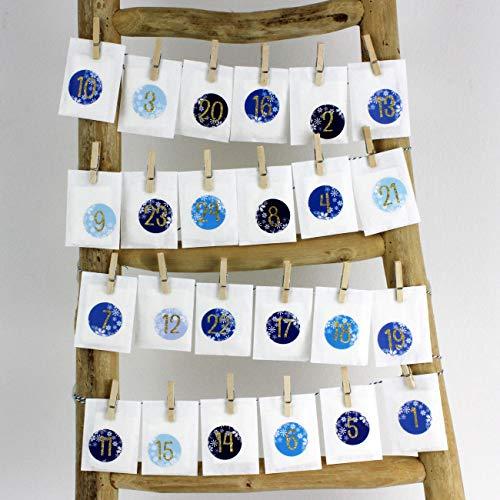 Papierdrachen Calendrier de l'Avent à remplir soi-même – Calendrier à suspendre avec 24 autocollants numérotés et pinces – Calendrier pour les amateurs de thé – Noël 2019