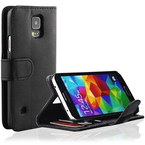 EnGive Samsung Galaxy S5 Hülle Ledertasche Schutzhülle Case Tasche mit Standfunktion & Card Holder Schwarz
