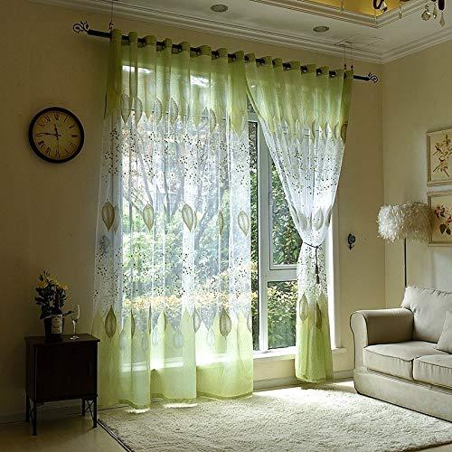 YAHLSEN 2 PCS Transparenter Tüll Fenstervorhänge for Wohnzimmer Die Schlafzimmer Die Küche, Größe: 1mX2.5m (Vier Krallen Hook) (Grün) Q (Color : Green)