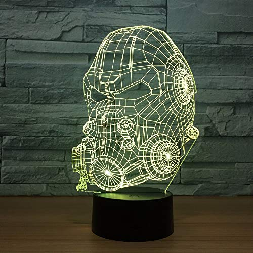 Gas Mask Model 3D led Night Light for Baby Bedroom Lamp Illusion Lamp Illusion LampChanging USB Touch Sensor Desk Table Lamp US