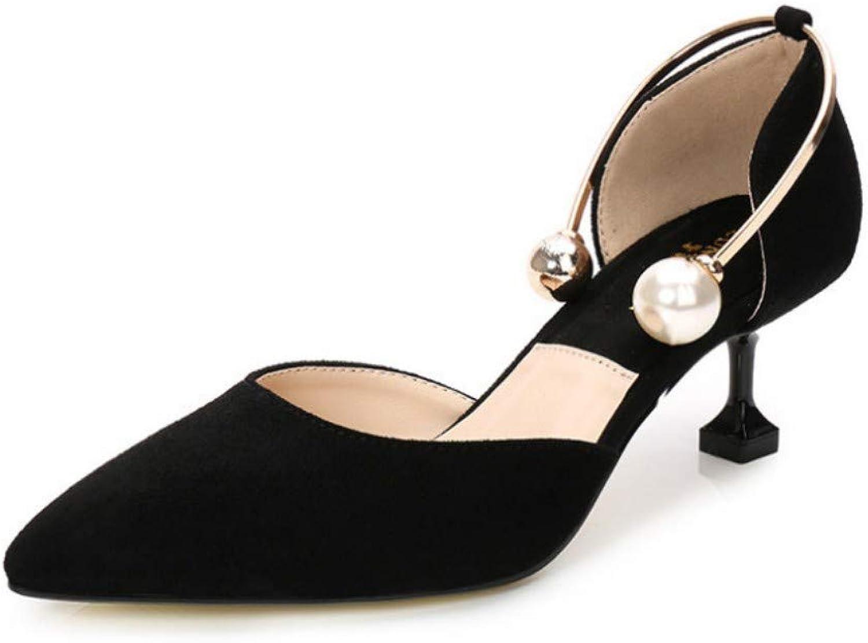 Frauen High Heel Sandalen Perle Wildleder Spitze Schuhe Vielseitig Bequem Schwarz