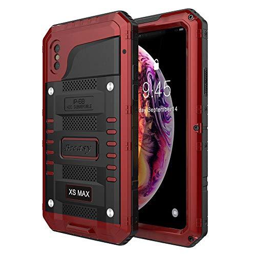 Beeasy Funda para iPhone XS MAX,Antigolpes Impermeable Rígida Robusta Antigravedad Carcasa Resistente al Impacto Militar Duradera Blindada Fuerte Seguridad con Protector Pantalla al Aire Libre,Rojo