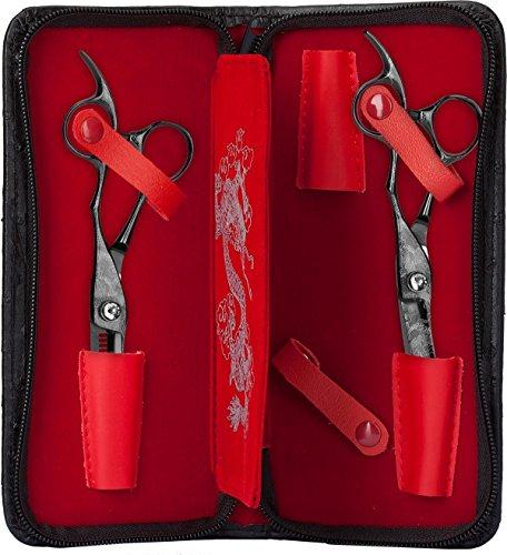 Olivia Garden Dragon Scherenset mit 2 Scheren, Rechtshand, 1er Pack (1 x 2 Stück)