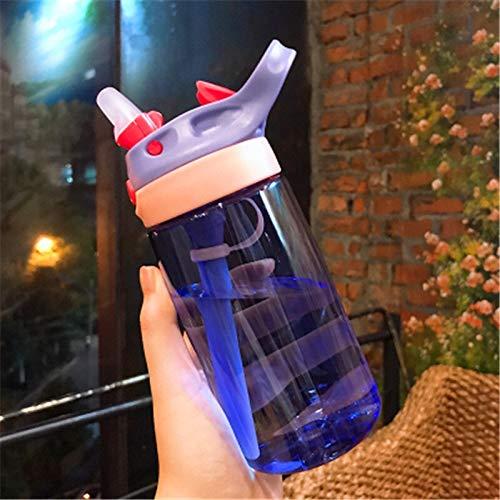 QFWN 450 / 480ml Wasserflasche mit Stroh Kunststoff-Wasserflaschen (Color : 480 Purple)