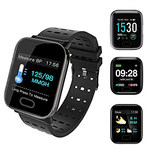 Smart Watch,Fitness Tracker with Heart Rate Monitor,Gps tracker,IP67 Waterproof Fitness Watch with Pedometer,Smartwatch Compatible with iOS/Android/samsung for Men Women-Black