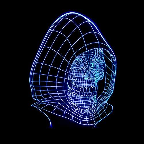 Hancoc Lámpara de mesa de calavera fantasma cabeza colorida luces 3D creativas tridimensionales LED dormitorio luz nocturna