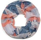 styleBREAKER sciarpa ad anello fantasia kilim, sciarpa ad anello, foulard, da donna 01016161, colore:Blu-corallo-bianco