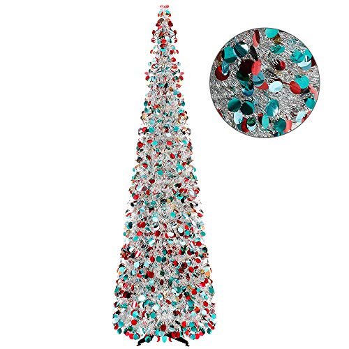 Joy-Leo 6 Foot Multicolored Silver Sequin Pop Up Tinsel Christmas Tree, Easy to Assemble and Store, for Small Spaces Apartment Fireplace Party Home Office Store Classroom Xmas Decorations