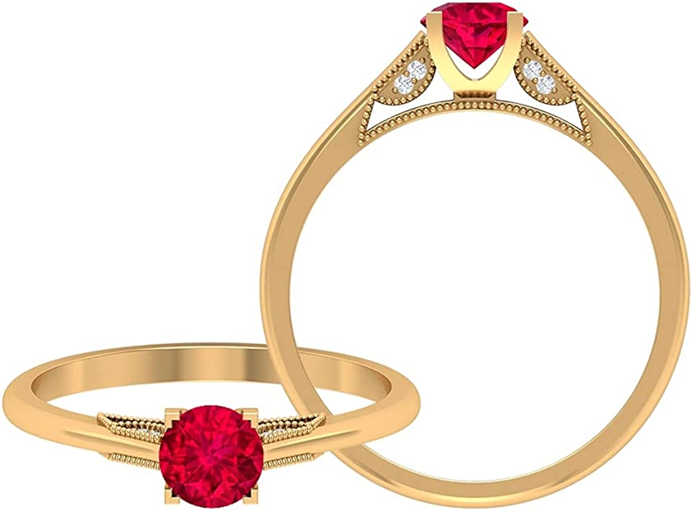 Ruby Solitaire Ring 0.5 CT, 0.8 MM HI-SI Diamond Engagement Ring, Gold Beaded Engraved Ring (5 MM Round Shaped Ruby), 14K Yellow Gold, Size:US 6.0