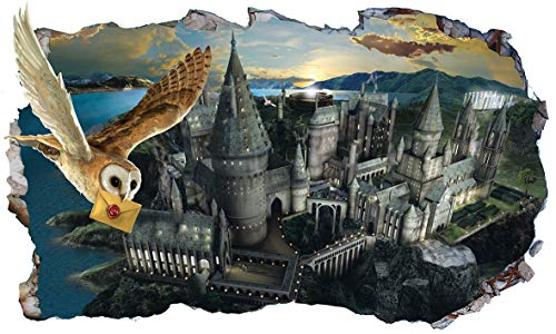 Chicbanners V555 Wandaufkleber Harry Potter Hogwarts Castle Hedwig Eule 3D Magic Window V555, selbstklebend, Größe 1000 mm breit x 600 mm tief (groß)
