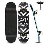 Skateboard Komplett 79x20cm für Kinder Erwachsene Jugendliche, 7-lagigem Cruiser Skateboards Komplettboard mit Double Kick Deck Concave und All-in-one Skate T-Tool für Anfänger, Schwarz3