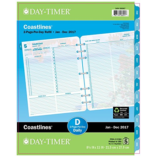 """Day-Timer Daily Planner Refill 2017, Two Page Per Day, Loose Leaf, Folio Size, 8-1/2 x 11"""", Coastlines (13380)"""