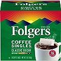 Folgers Coffee Singles Classic Decaf Medium Roast Coffee, 19 Single Serve Coffee Bags