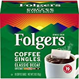Folgers Coffee Singles Classic Decaf Medium Roast Coffee, 19 Single Serve Coffee Bags