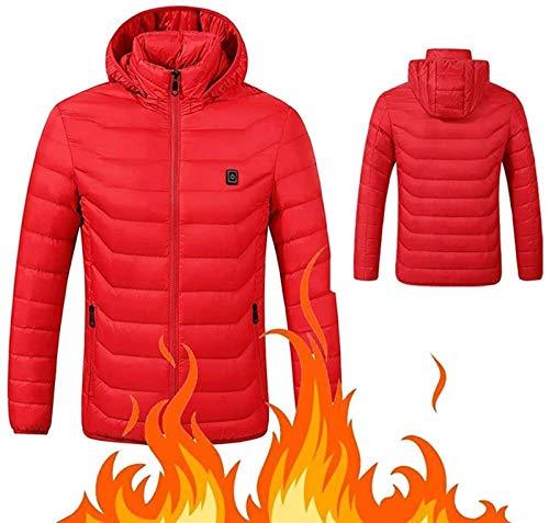 YANJ Beheizte Mantel 5V USB aufladbare elektrische Heizung Jacke Bergsteigen (Color : Red, Size : 3XL)