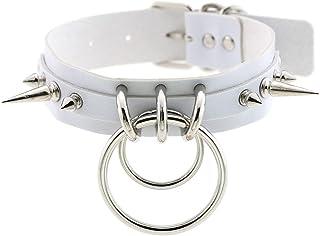Women Punk Leather Choker Necklace Rivet Buckle Spike Collar Girls Studded Necklace Adjustable