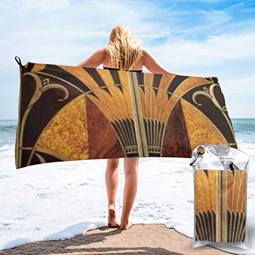 popluck Art Deco Wood Microfiber Quick Dry Super Soft Ultra Light Travel Portable Towel for Travel Beach Camping Gym Swimming Sporting