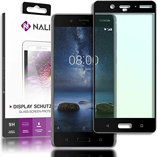 NALIA Schutzglas kompatibel mit Nokia 8, 3D Full-Cover Bildschirmschutz Handy-Folie, 9H Festigkeit Glas-Schutzfolie Display-Abdeckung Schutz-Film HD Screen Protector Tempered Glass - Transparent (schwarz)