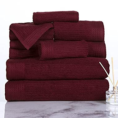 Lavish Home Ribbed 100% Cotton 10 Piece Towel Set - Burgundy