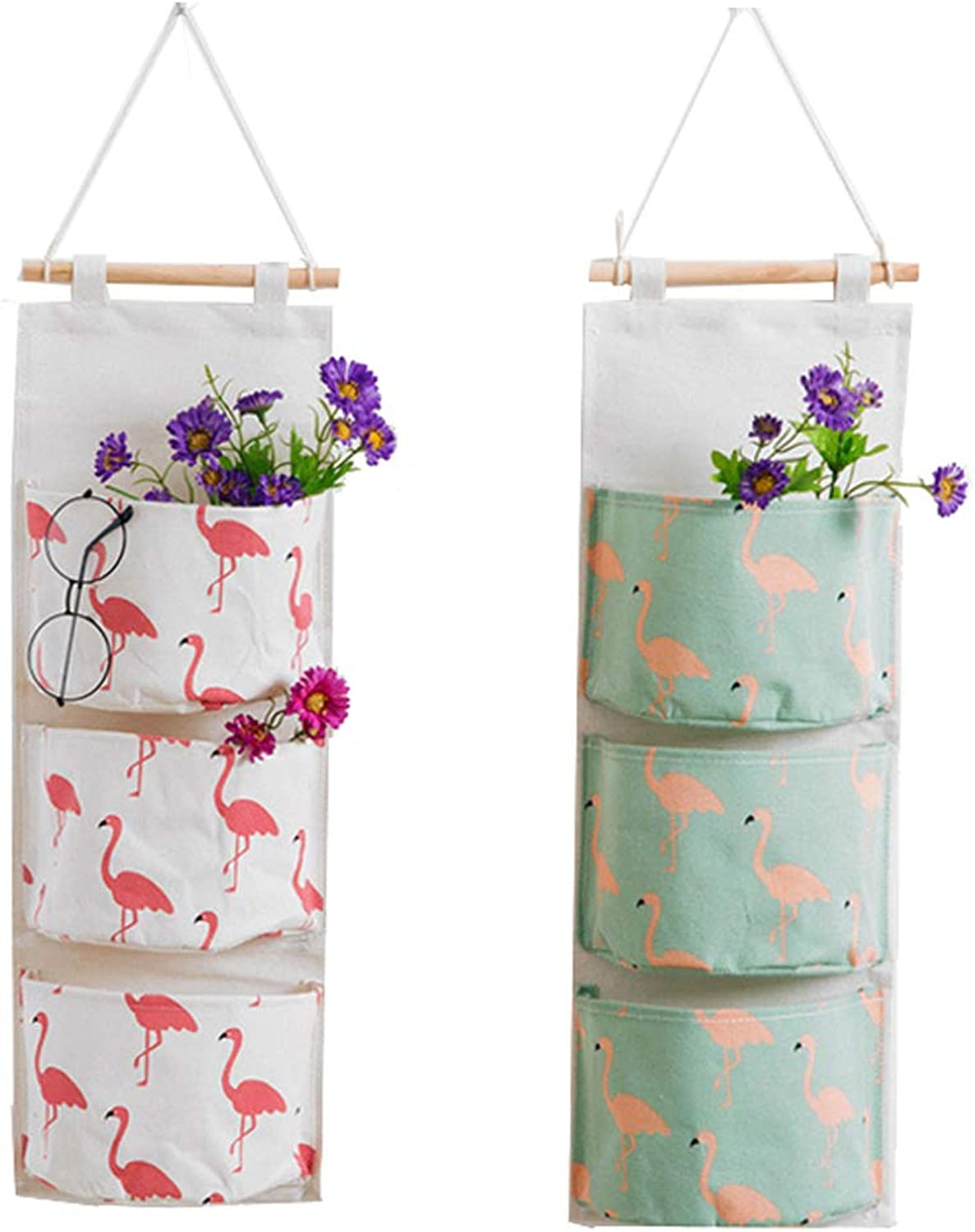 2 Pack Wall Hanging Organizer Over The Door Closet Storage Bags with 3 Pockets for Bedroom & Bathroom