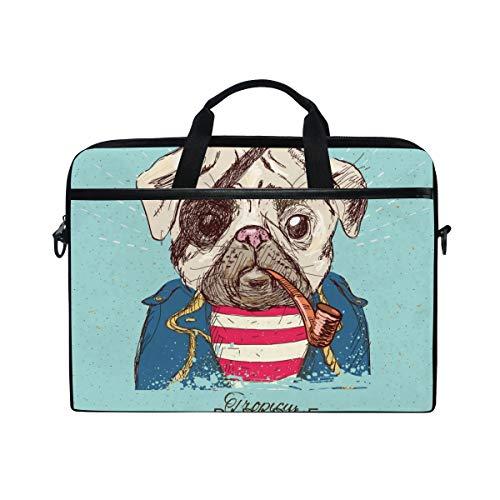 FOURFOOL 15-15.6 inch Laptop Bag,Illustration Pirate Pug Dog On Blue,New Canvas Print Pattern Briefcase Laptop Shoulder Messenger Handbag Case Sleeve