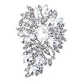 EVER FAITH Women's Austrian Crystal Wedding Flower Leaf Bouquet Brooch Clear...