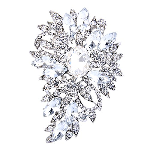 EVER FAITH Women's Austrian Crystal Wedding Flower Leaf Bouquet Brooch Clear Silver-Tone
