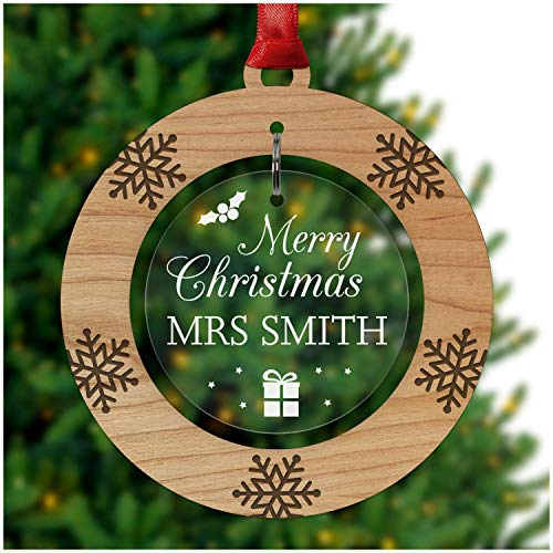 PERSONALISED Teacher Merry Christmas Tree Ornament Decoration Bauble Xmas - Cherry Veneer and Acrylic Engraved Christmas Tree Ornament - Keepsake Christmas Thank You Presents