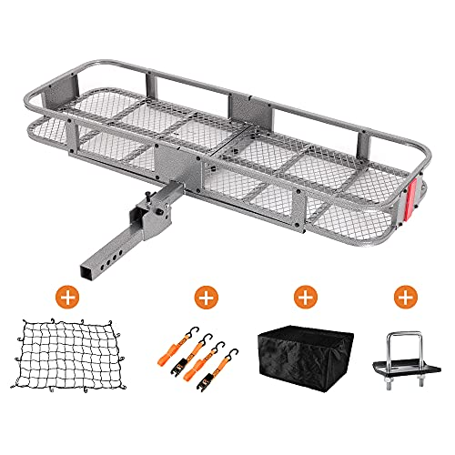 Basket Trailer Hitch Cargo Carrier 60'x 21' Folding Trailer Hitch Luggage Rack with Cargo Bag and...
