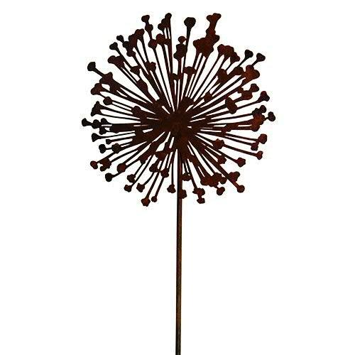Wunderschöner & Hochwertiger Gartenstecker – Rost Blume/Blumenstecker – Große Auswahl – Edelrost Dekoblume – Metall Gartendeko (Flache Allium - Ø 40cm)