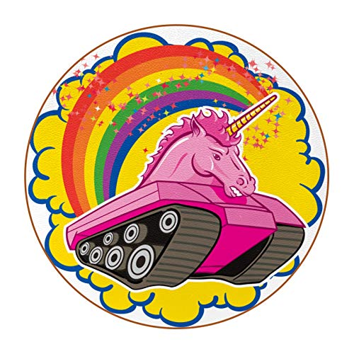 Coasters for Drinks Carro de Unicornio Absorbent Leather Coasters Housewarming Gifts for New Home Present for Friends, Living Room Decor, Apartment Decor 11 cm