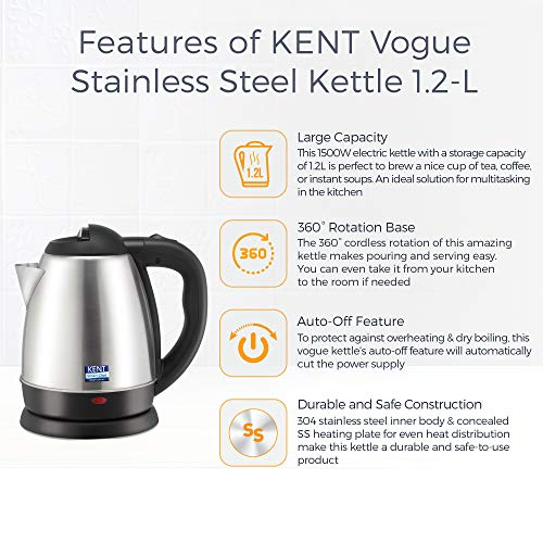 Kent Vogue 1500W 1.2 Litre Electric Kettle (Stainless Steel), Silver