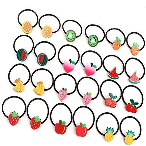 4EAELove Fruit Bow Elastic Hair Ties Hair Accessories Bow-Knot Stretch Hair Rubber Band Set Ponytail Holders Headband Scrunchie Hair Ropes Fruit Mixed