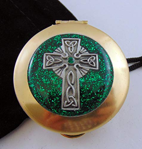 JWG Industries PYX with Raised Celtic Cross Motif and Black Drawstring Burse