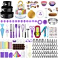 186 Pcs Cake Decorating Supplies Kit,Aluminium Rotating Turntable Stand,Frosting Piping Tips,100 Disposable Bags,Couplers,Scrapers,Spatulas,Cutter,Smoother,Flower Nails,Lifter,Baking Tools Set