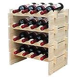 Anberotta 木製 ワインラック 積み重ね式 ホルダー ワイン シャンパン ボトル ウッド 収納 ケース スタンド インテリア ディスプレイ 1,2,3,4段から選べる W1 (16本用収納・4段)