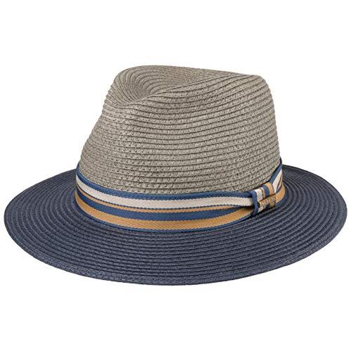 Stetson Cappello di Paglia Romaro Toyo Uomo - Traveller Estivo Cappelli da Spiaggia con Nastro in Grosgrain Primavera/Estate - XXL (62-63 cm) Grigio