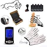 Set electroestimulación | Dispositivo estimulación electrosex con pene y guantes 4 * | Estim Accesorios Penis Cock...