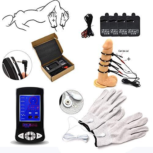 Set electroestimulación | Dispositivo estimulación electrosex con pene y guantes 4 * | Estim Accesorios Penis Cock Ring | Sromschlag Torture Stimulator SM Juguetes sexuales mujeres Hombres Parejas