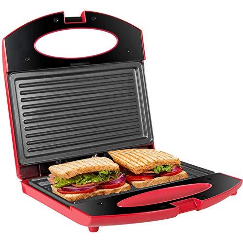 Gotoll Sandwichera Grill,Parrilla Eléctrica,Placas de Grill Electricas Antiadherentes 750W con Capacidad para 2 Sándwiches Tostadoras (Rosa, 2 Sándwiches)