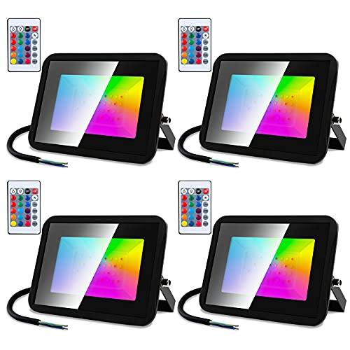 Rotemion Foco LED 30W RGB, Proyector Interior Exteriores con Control Remoto, Floodlight que Cambia de Color IP66 Impermeable, Función de Memoria 16 Colores 4 Modos, Iluminación de Camino, 4 Piezas