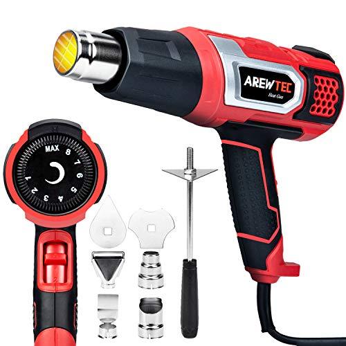 Pistola de Aire Caliente, AREWTEC 2000W Decapadora Professional, Temperatura Adjustable 80~600℃, Velocidad del Viento (300-500L/min), 8 Acesorios para Raspar la Pintura, Deformar Tubos y Encoger PVC