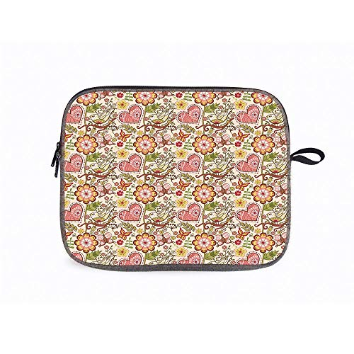 Floral Lovely Hearts 14 Inch Laptop Messenger Bag Compatible with Fujitsu, Lenovo, HP, Samsung, Sony