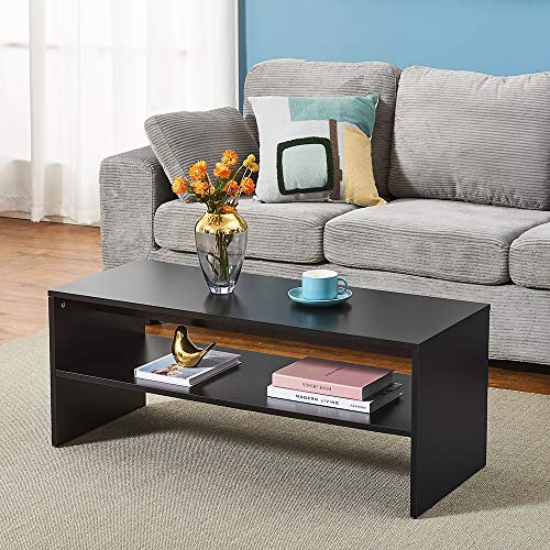 2-Tier Coffee Table, Couch End Side Telephone Small Sofa Tea Accent Table Chipboard Living Room Dining Room Kitchen Furniture (Black)