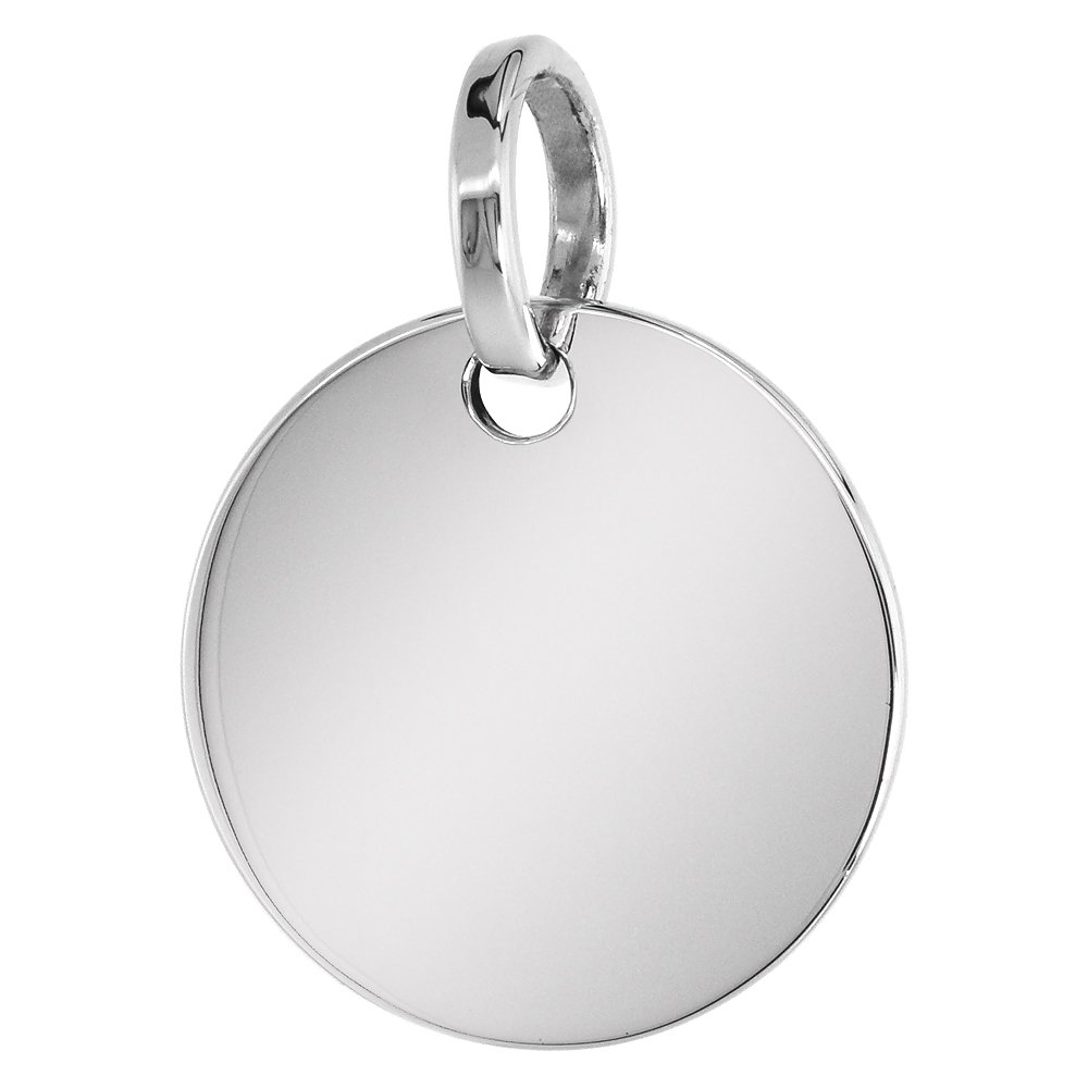 Sterling Silver Engraveable Disc Necklace 7/8 inch Round Handmade 2mm Cuban Link Chain