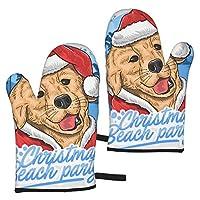 クリスマスの犬サンタクロースの動物のアートワークマイクロ波とグリル綿の手袋、調理と調理のための100%綿の耐熱性