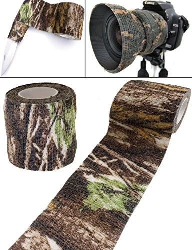Outdoor Saxx® - Camouflage Tarn-Tape Real-Tree, Real Forest, Gewebe-Band, Tarnung wasserfest mehrfach verwendbar, Kamera, Ausrüstung, Jäger, Angler, Fotografen, 4.5m