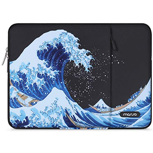 MOSISO Laptop Sleeve Compatible with 13-13.3 inch MacBook Pro, MacBook Air, Notebook Computer, Water Repellent Polyester Vertical Carrying Case Cover Bag with Pocket, Sea Wave Black Base