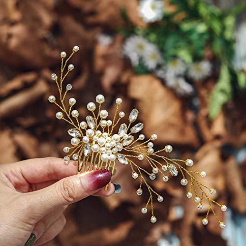 Edary Brautschmuck Gold Hochzeit Haarkämme Perle Braut Kopfschmuck Kristall Haarklammern Perlen Haarschmuck für Frauen und Mädchen