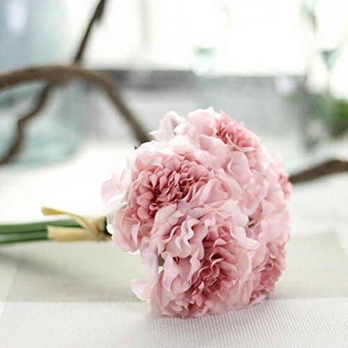 Longra Wohnaccessoires & Deko Kunstblumen Künstliche Seide Kunstblumen Pfingstrose Blumen Hochzeit Bouquet Braut Hortensie Dekor (B)